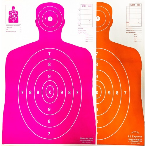 Qty. 100 B-27 50 Pink/50 Orange Silhouette Shooting Targets 23x35