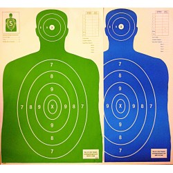 Qty. 100 B-27 50 Green/50 Blue Silhouette Shooting Targets 23x35